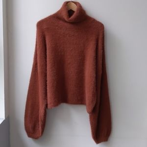 4SI3NNA Crop Turtleneck Sweater Pumpkin XL